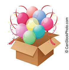 A box of colorful balloons