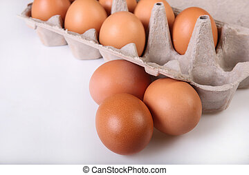 A box of eggs. Closeup. Isolated.