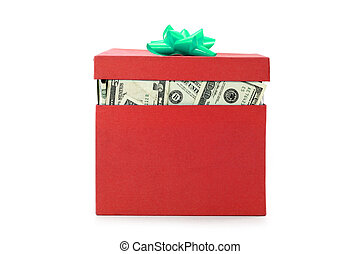 a box of us dollars, concept of making money, or money gift