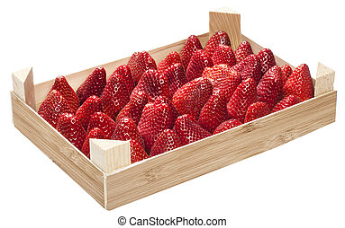 a box of strawberries on white background