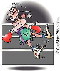 A boxer knocked out - Vector cartoon illustration of a boxer...