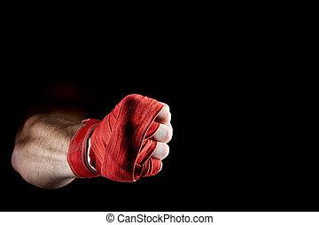 a, boxer's, 赤, 包帯, 上に, 彼の, 手, 隔離された, 上に, 暗い, ぼやけた背景, close-up.