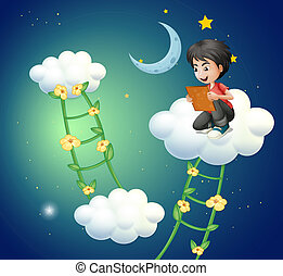 A boy above the cloud watching a picture