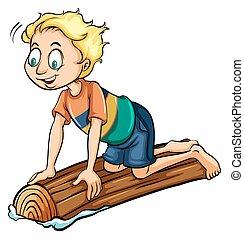 A boy above the log