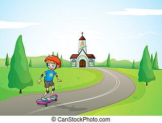 A boy and a church