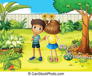 A boy and a girl arguing in the garden