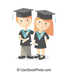 A boy and a girl at the graduation
