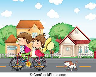 A boy and a girl biking followed by a dog - Illustration of...