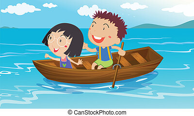 A boy and a girl boating