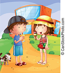 A boy and a girl having conversion