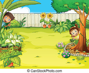 A boy and a girl hiding in the garden - Illustration of a...