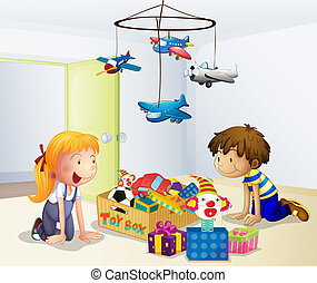 Illustration of a boy and a girl playing inside the house