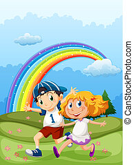 A boy and a girl running with a rainbow in the sky
