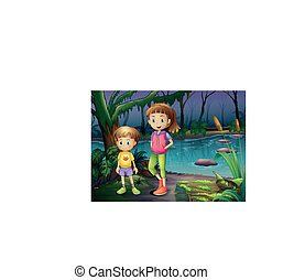 A boy and a girl standing in the middle of the forest