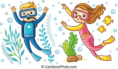 A boy and a girl swim under the water in a scuba diving with fish.