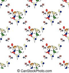 a boy and a girl with flowers and balloons Seamless pattern.
