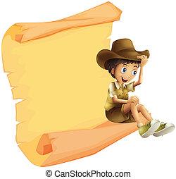 A boy and a paper sheet