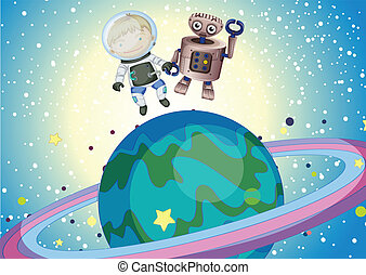 A boy and a robbot in the outer space