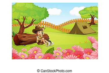 A boy and a tent