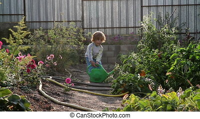 A boy and a watering can - A little boy moves with a...