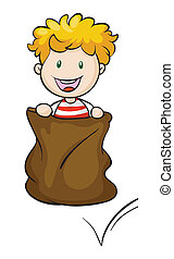 a boy and burlap - illustration of a boy and burlap on a...