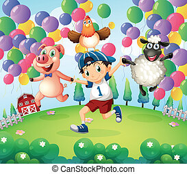 A boy and his animals at the farm with floating balloons