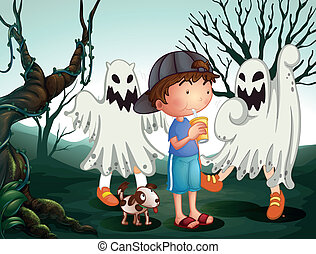 A boy and his pet at the graveyard with ghosts
