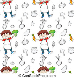 a boy and vegetables