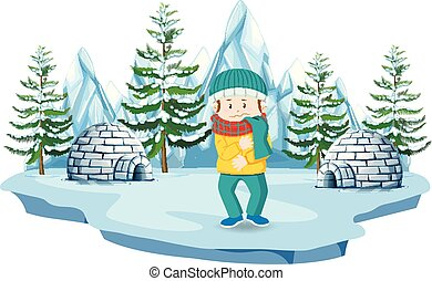 A Boy at North Pole illustration
