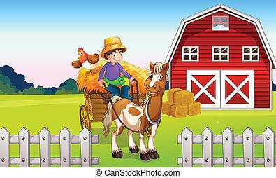A boy at the farm - Illustration of a boy at the farm