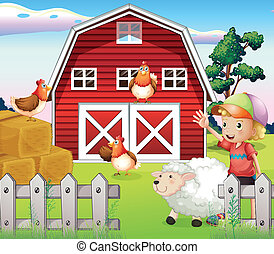 A boy at the farmhouse with animals