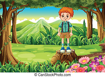 A boy at the forest standing above the stump