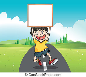 A boy at the road holding an empty signage