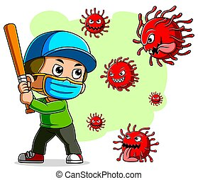 A boy baseball player wearing mask fight corona virus