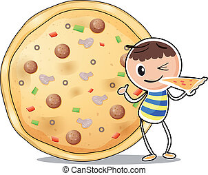 A boy beside a big pizza
