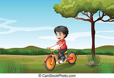 A boy biking at the hill - Illustration of a boy biking at...