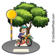 A boy biking at the road