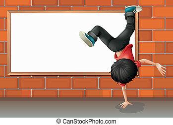 A boy breakdancing in front of the empty board