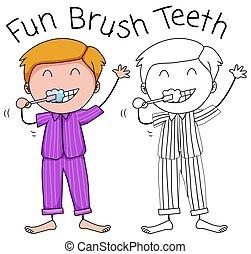 A boy brushing teeth