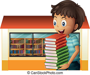 A boy carrying books outside the library
