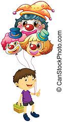 A boy carrying three clown balloons