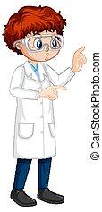 A boy cartoon character wearing laboratory coat