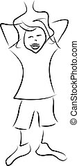 a boy cartoon, vector illustration