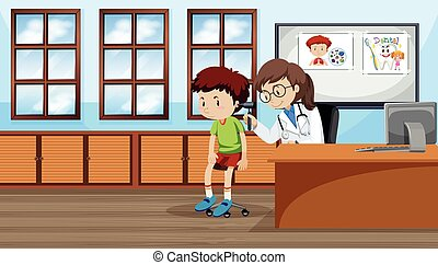 A boy checking ear with doctor