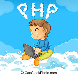 A boy coding PHP on cloud illustration