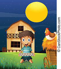 A boy collecting eggs in the evening