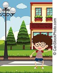 A Boy Crossing the Road