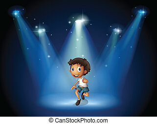 A boy dancing with spotlights - Ilustration of a boy dancing...