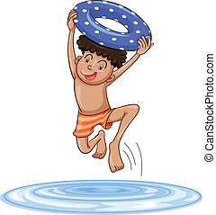 a boy diving into water