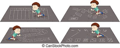 A Boy Drawing Number on the Road